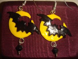 Bat and Moon Earrings by KittyAzura