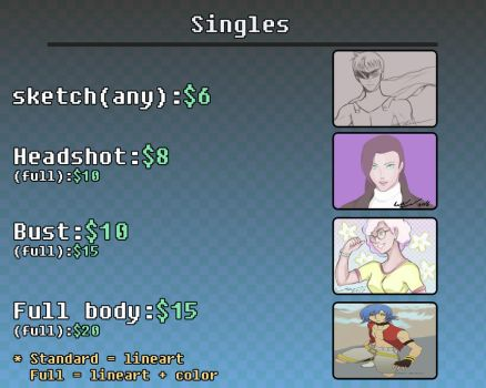 Commission Pricing for Singles by Unleashed360