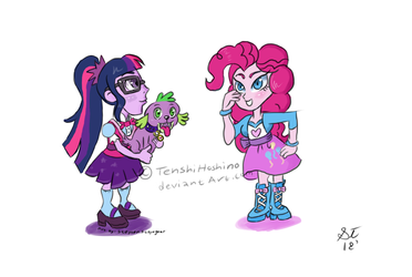 Cartoon SciTwi, Pinkie and Spike by TenshiHoshino