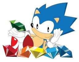 Sonic with Chaos Emeralds by gemstonelover49