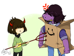 Deltarune: Devil kid vs Box monster by CottonCatRie