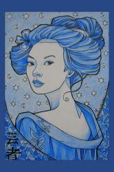 Blue Geisha Print by khallion