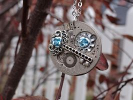 Steampunk engraved rose necklace by Hiddendemon-666