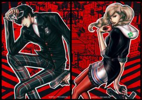 P5 Akira and Ann by mecharune