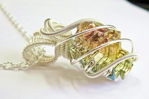 Small Wire-Wrapped Bismuth Crystal Necklace by HeatherJordanJewelry