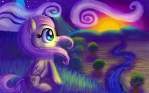 Fluttershy Watches the Sunset by easeldoodle