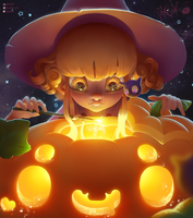 Witch And Pumpkin (Halloween Contest 2017) by JoAsLiN