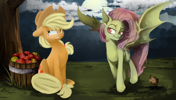 AppleJack and FlutterBat (Collab) by ChibaDeer