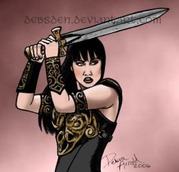 Xena wields her sword by Xena-Fan-Club