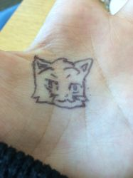 The Cat I Drew Casually On My Hand by Scarletcat1