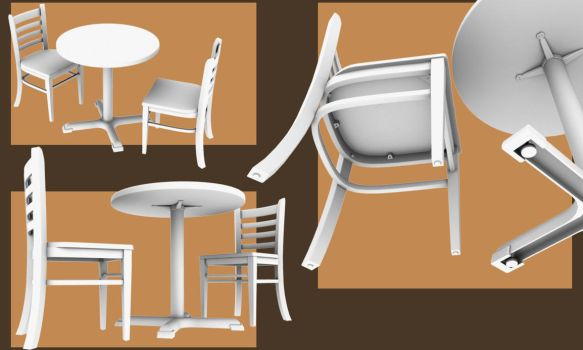 Coffeeshop Table and Chairs by smudgedcat
