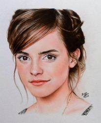 Color pencil portrait of Emma Watson by chaseroflight