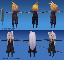 Final Fantasy VII Cloud and Sephiroth Turnaround by CGHow