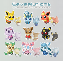 Eeveelutions - Charms, Buttons, Stickers by SweetEmii