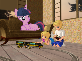 Playing with a Lego Train by Tonypilot