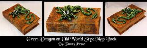 Ooak Polymer Clay Green Dragon on Old World book by Tpryce