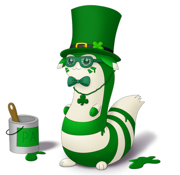 St. Patrick's Day Furret by EvanDaMaster