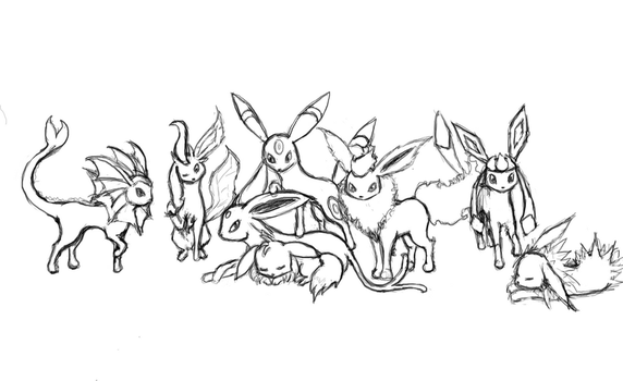 Eevee + Evolutions-uncolored- by KrystalTrinity
