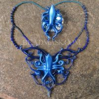 Leather Octopus Necklace and Fascinator by Beadmask