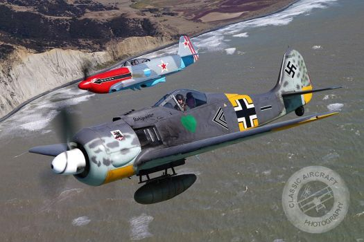 FW 190 and Yak 3 in flight by StephenBarlow
