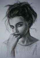 Pretty shy girl with messy hair by Weadme