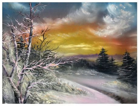 Purple Winter Landscape Oil Painting by MarinaPacurar