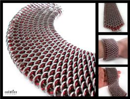 Red Dragonscale Bracelet by coldfirecustoms