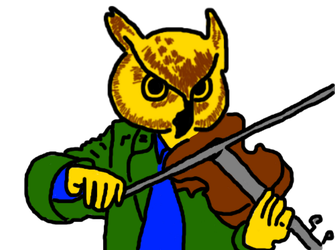Owl Playing Fiddle by AlexEvansArt