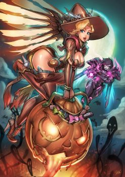 Overwatch Halloween Mercy vs Pharah Print pack SP by reiq