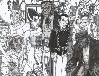 Steampunk Universal Monsters WIP BW by Crash2014