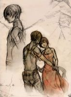 RE 4 - Leon and Ada sketch by XMenouX