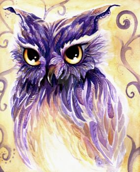 Purple Owl by FlyAwayFairy