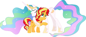 MLP Vector - Princess Celestia and Sunset Shimmer by jhayarr23