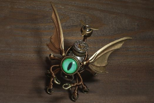 Steampunk Cthulhu Minion Robot with green eye by CatherinetteRings