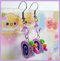 Purple Cake Roll Earrings 2 by cherryboop
