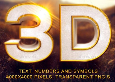 Gold Beveled 3D Text and Symbols by loswl