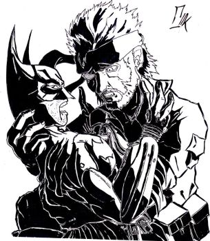 Snake and Batman for love by mellomiyomotis