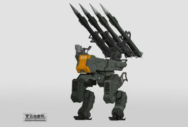 mecha with anti-air missile and radar by marksanwel