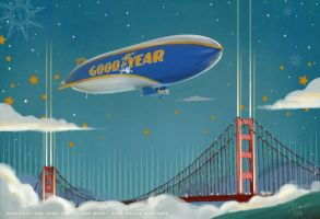 Art Deco Airship Wingfoot One over San Francisco by PaulRomanMartinez