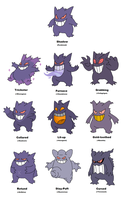 Gengar variations by JWNutz