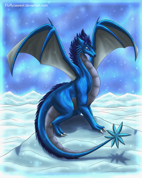 Snowy The Snowdragon by fluffycawwot
