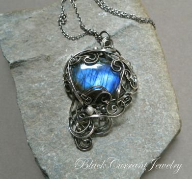 Magical Mirror - labradorite cabochon with silver by blackcurrantjewelry