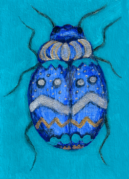Beetle Bug Art   Insect Charcoal Acrylic Painting by LoVeras
