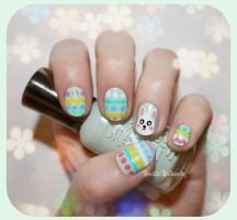 Bunny and Eggs - Easter Nails by psychoren