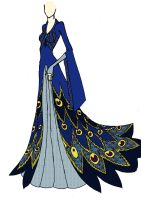 Blue Peacock Gown by ElvenButterfly