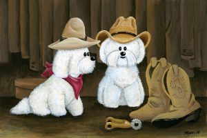 Bichon Cowboys by spiraln