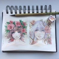 ACEO flower girls by PenWinter