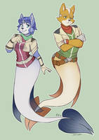 Starfox Merfolk Duo - Fox and Krystal Commission by dragonheart07
