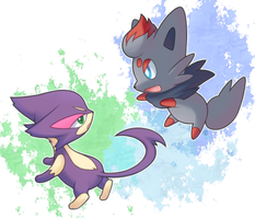 zorua and choroneko's playtime by drill-tail