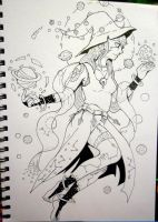 Inktober x 31 Witches Day 14 - Space Witch by SarahRichford